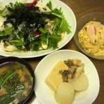 水菜・大根・鶏胸・赤ピーマン・海苔のサラダと、余りモノ