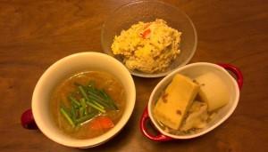 おからサラダ、味噌汁、残り物の高野豆腐