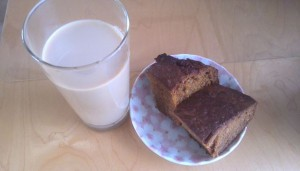コーヒー牛乳とキャロットケーキ