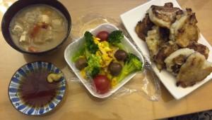 味噌汁、かぼちゃサラダ、大根餅