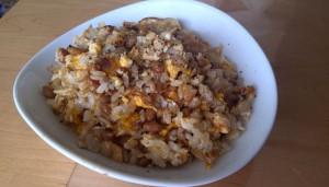 納豆と卵2個の炒飯