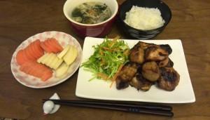 鶏胸のトースター唐揚げ、中華風スープ、ぬか漬け