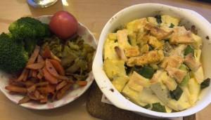 作り置きと、豆腐、チーズ、じゃこ、ネギのオーブン焼き