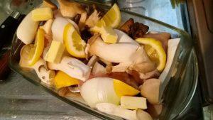 鶏胸、新玉葱、エリンギ、舞茸のホイル焼き風@レモンバター風味