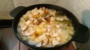 野菜スープ@玉葱、新玉葱、セロリ、人参、しめじ、トマト、エリンギ