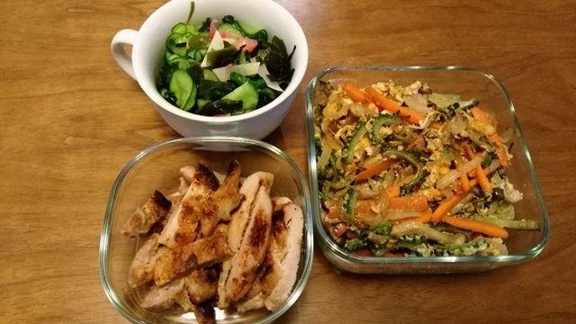 今週の作り置き、豚味噌焼き、ゴーヤと諸々の卵とじ、胡瓜とワカメとみょうがと生姜の酢の物