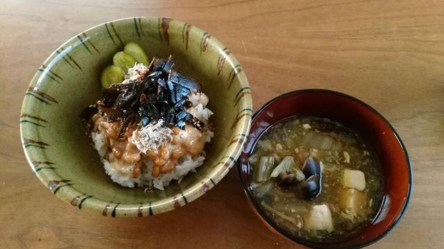 納豆ご飯、味噌汁