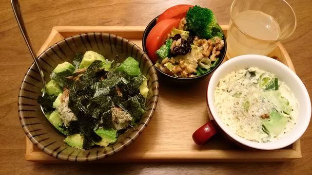 サラダの残り、中華風豆乳茶碗蒸し、アボカド納豆ご飯